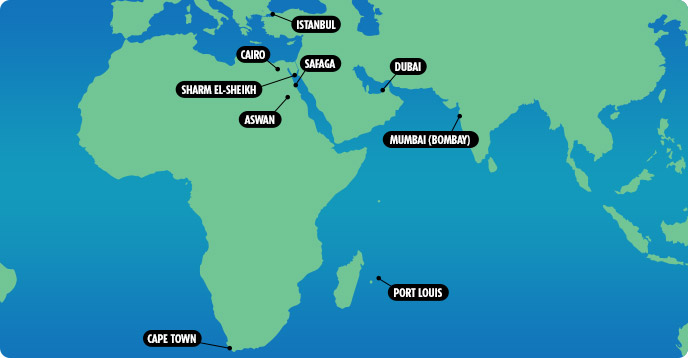 Middle East And Africa Map.Cruises From Africa Africa Cruises Cruise South Africa Middle