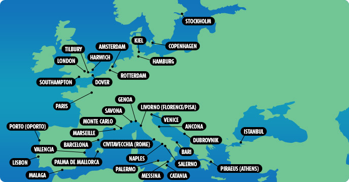 map of mediterranean cruise ports detland