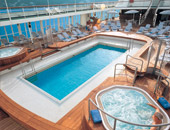 The pool deck on a Silversea cruise ship